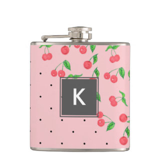 cute watercolor cherry black polka dots pattern hip flask