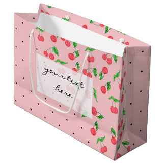 cute watercolor cherry black polka dots pattern large gift bag
