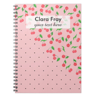 cute watercolor cherry black polka dots pattern notebooks