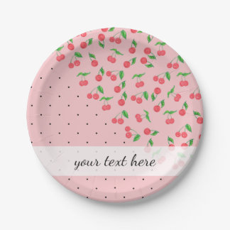 cute watercolor cherry black polka dots pattern paper plate
