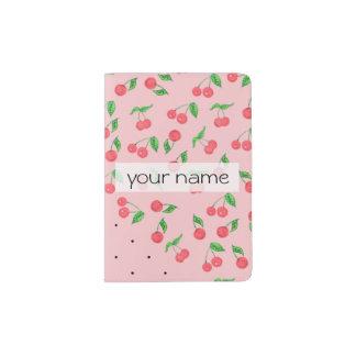 cute watercolor cherry black polka dots pattern passport holder