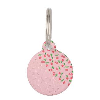 cute watercolor cherry black polka dots pattern pet name tag