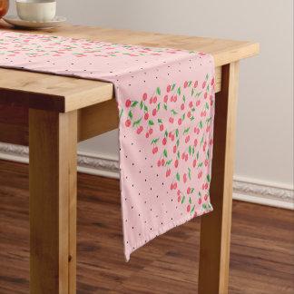 cute watercolor cherry black polka dots pattern short table runner