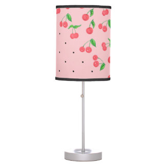 cute watercolor cherry black polka dots pattern table lamp