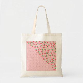 cute watercolor cherry black polka dots pattern tote bag
