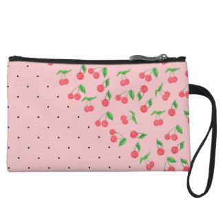 cute watercolor cherry black polka dots pattern wristlet