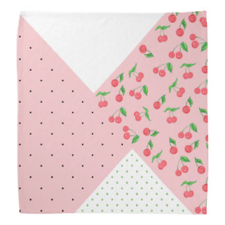 cute watercolor cherry drawing polka dots pattern bandana