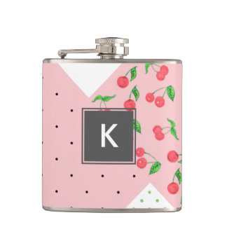 cute watercolor cherry drawing polka dots pattern hip flask