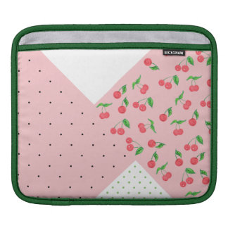 cute watercolor cherry drawing polka dots pattern iPad sleeve