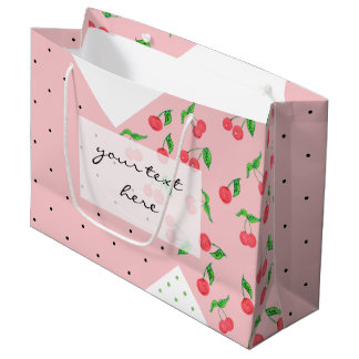 cute watercolor cherry drawing polka dots pattern large gift bag
