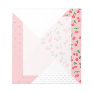 cute watercolor cherry drawing polka dots pattern notepad