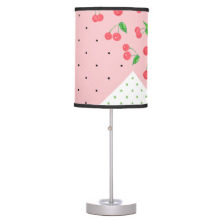 cute watercolor cherry drawing polka dots pattern table lamp