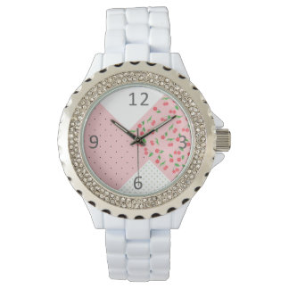 cute watercolor cherry drawing polka dots pattern watch
