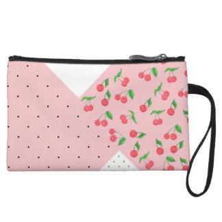 cute watercolor cherry drawing polka dots pattern wristlet