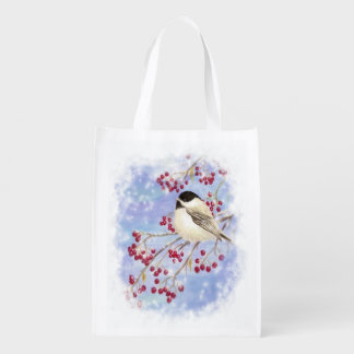 Cute Watercolor Chickadee Berries Christmas Snow Reusable Grocery Bag
