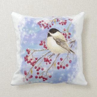 Cute Watercolor Chickadee Berries Snow Scene Art Throw Pillow