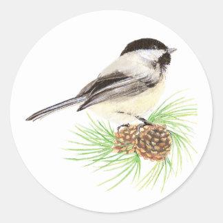 Cute Watercolor Chickadee Bird Pine Tree Classic Round Sticker