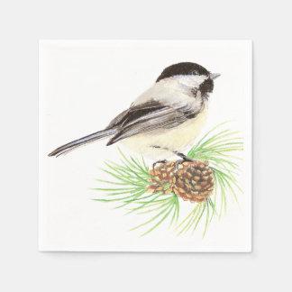 Cute Watercolor Chickadee Bird Pine Tree Disposable Napkin