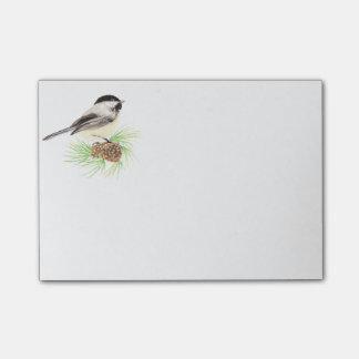 Cute Watercolor Chickadee Bird Pine Tree Post-it Notes