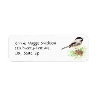 Cute Watercolor Chickadee Bird Pine Tree Return Address Label