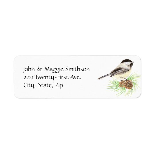 Cute Watercolor Chickadee Bird Pine Tree Return Address Label
