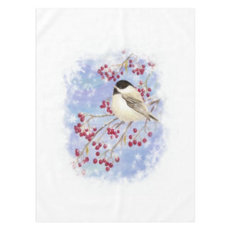 Cute Watercolor Chickadee Frosty Snowflakes Tablecloth