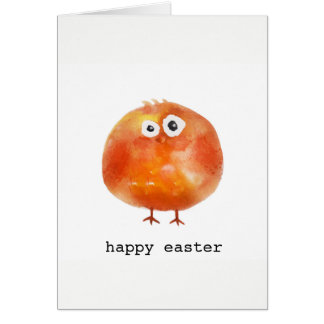 Cute watercolor chicken Easter Card