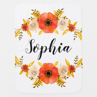 Cute Watercolor Coral Floral Wreath Custom Text Baby Blanket