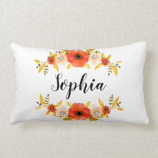 Cute Watercolor Coral Floral Wreath Custom Text Lumbar Pillow