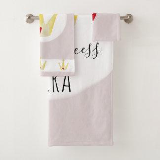 Cute Watercolor Crown Baby Girl Princess with Name Bath Towel Set