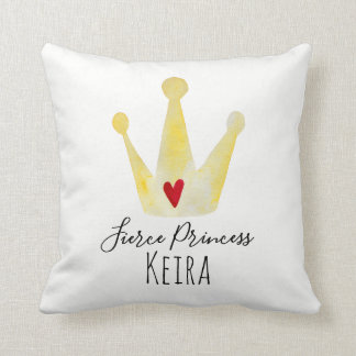 Cute Watercolor Crown Baby Girl Princess with Name Throw Pillow