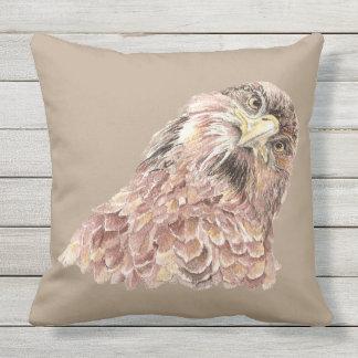 Cute Watercolor Curious Hawk Looking at you Bird Outdoor Pillow