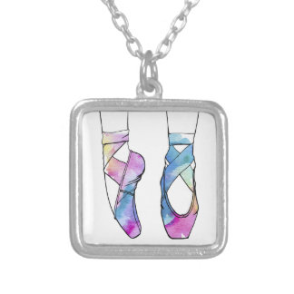 Cute Watercolor Dancing Ballet Shoes for Ballerina Silver Plated Necklace