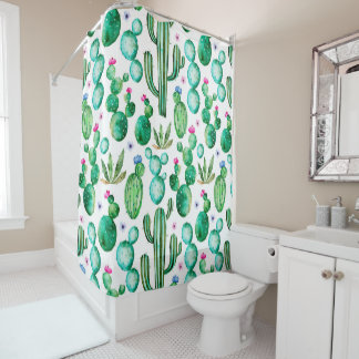 Shower Curtains - Cute Watercolor Flowering Cactus Patterned Shower Curtain