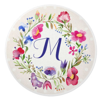 Cute Watercolor Flowers Floral Fine Monogram Ceramic Knob