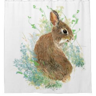 Cute Watercolor Garden Bunny Rabbit Blue, Green