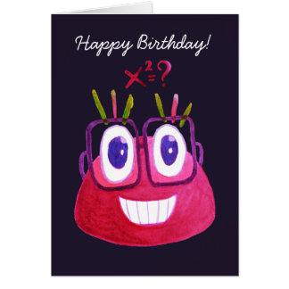 Cute Watercolor Geek Candy Character Math Birthday Card