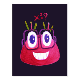 Cute Watercolor Geek Candy Character Mathematician Postcard