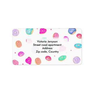 Cute watercolor hand painted donuts foodie pattern label