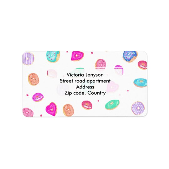 Cute watercolor hand painted doughnuts foodie label
