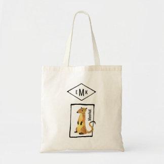 Cute Watercolor Meerkat with Monogram Tote Bag