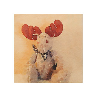 Cute Watercolor Moose Wood Canvases