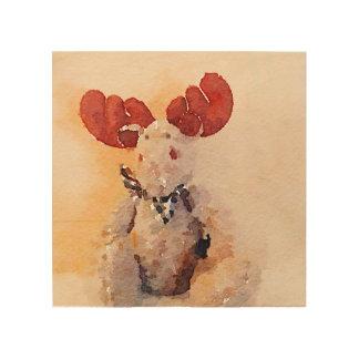 Cute Watercolor Moose Wood Prints