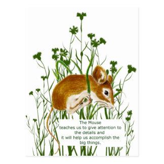 Cute Watercolor Mouse Animal Totem Spirit Guide Postcard
