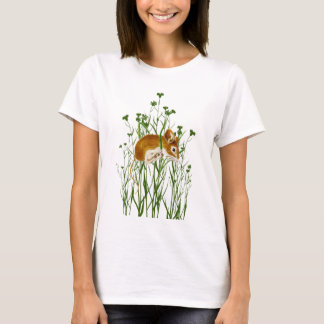 Cute Watercolor Mouse Hanging on to grass T-Shirt