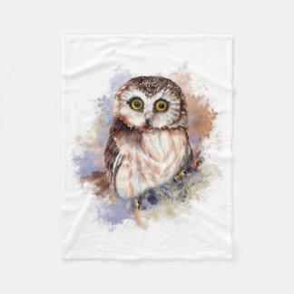 Cute Watercolor Owl Bird Nature art Fleece Blanket