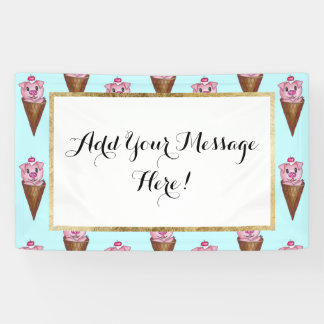 Cute Watercolor Piggy Ice Cream Pink Teal Pattern Banner