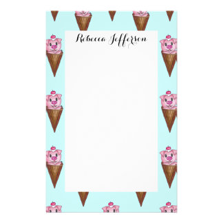 Cute Watercolor Piggy Ice Cream Pink Teal Pattern Stationery