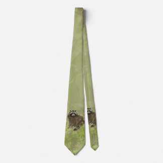 Cute Watercolor Raccoon Animal Nature Tie