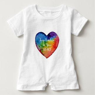 Cute Watercolor Rainbow Heart Baby Romper